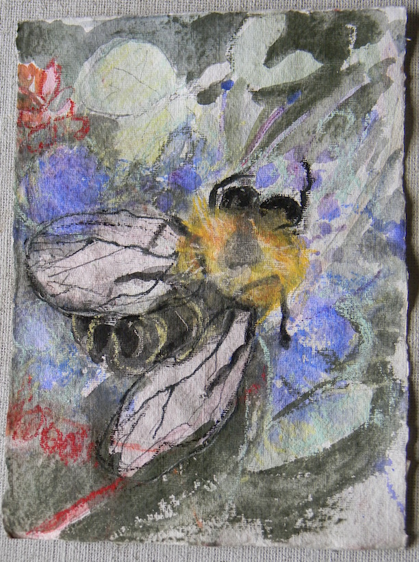 Bee and Flowers Study#3 9x11 sold