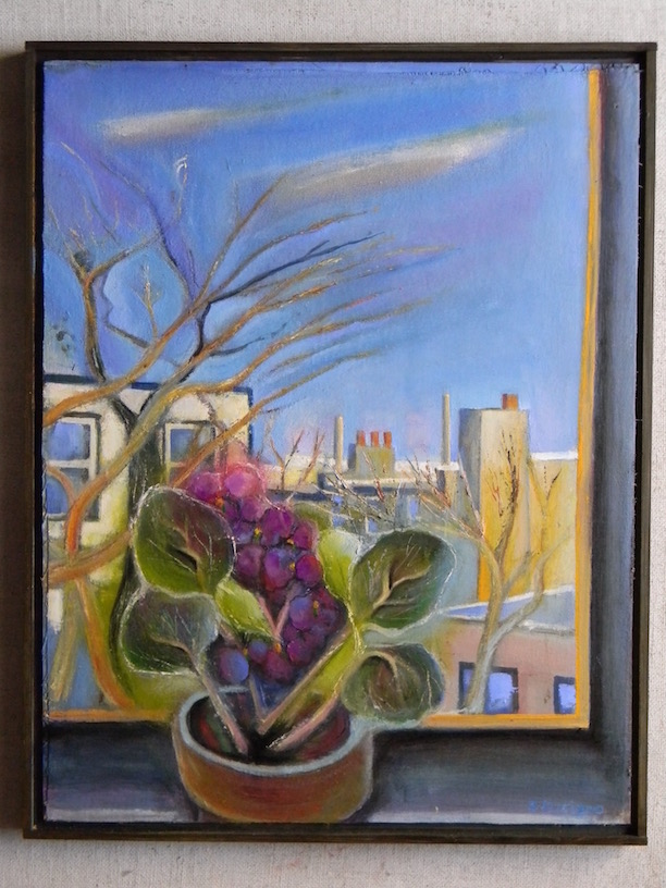View from my Window with cyclamens 18x23 $600