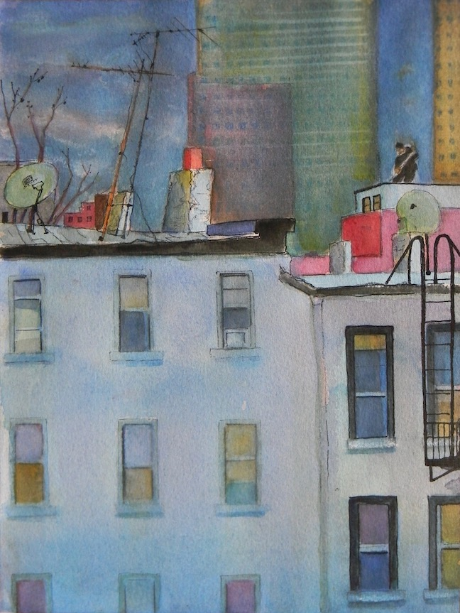 Working the Roof 9x12 sold