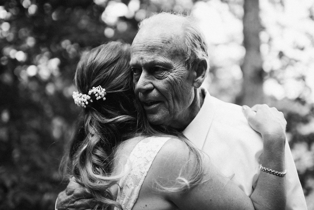 bride hugs father
