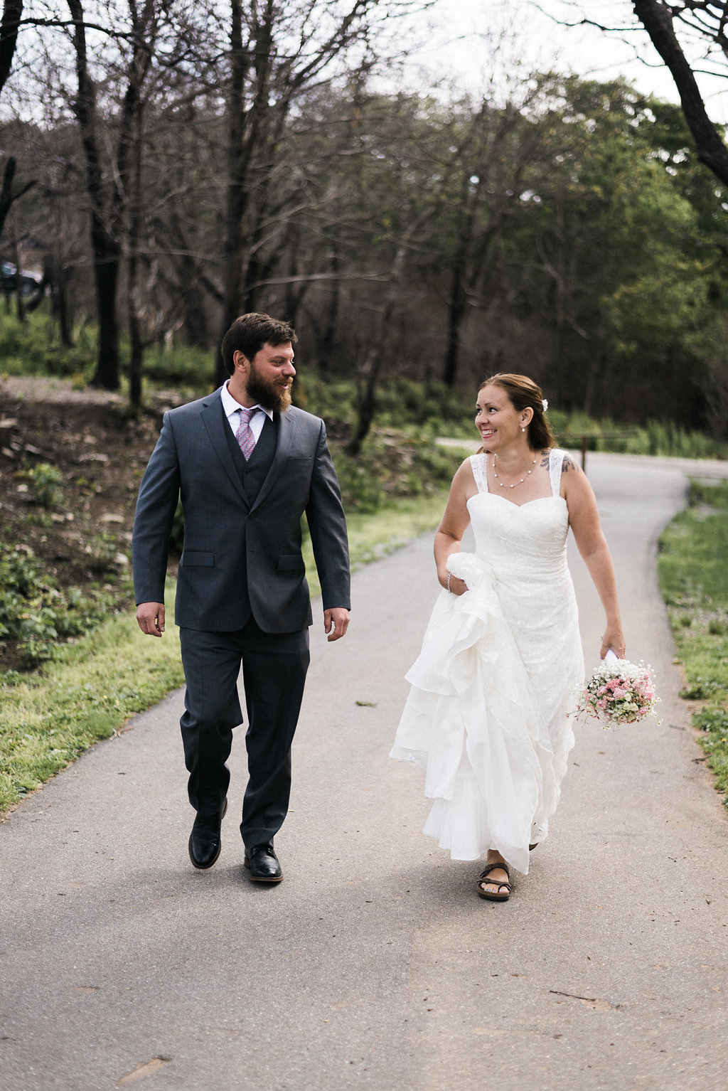 Bride and groom walking together