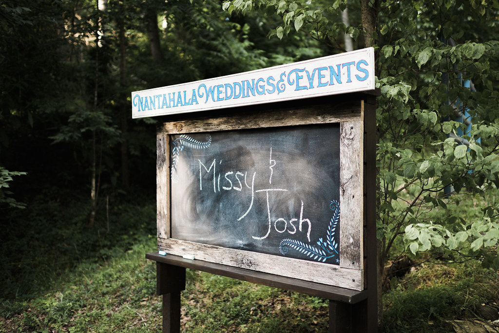 announcement at Nantahala Weddings