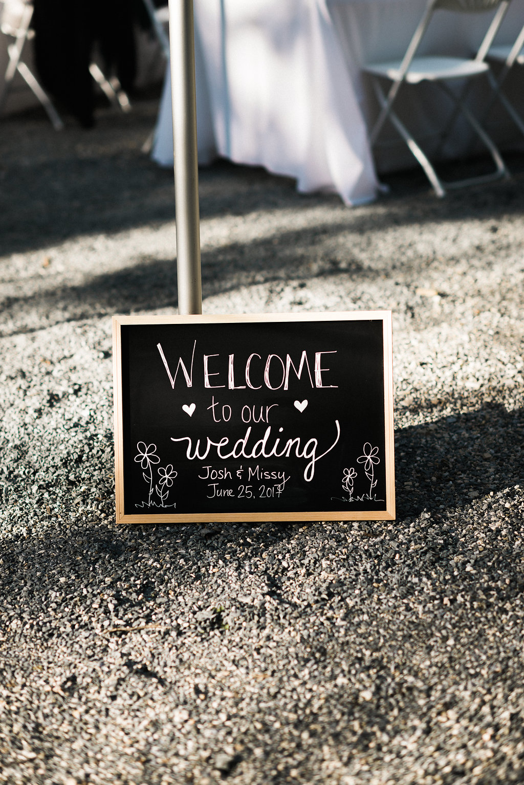 sign at wedding reception