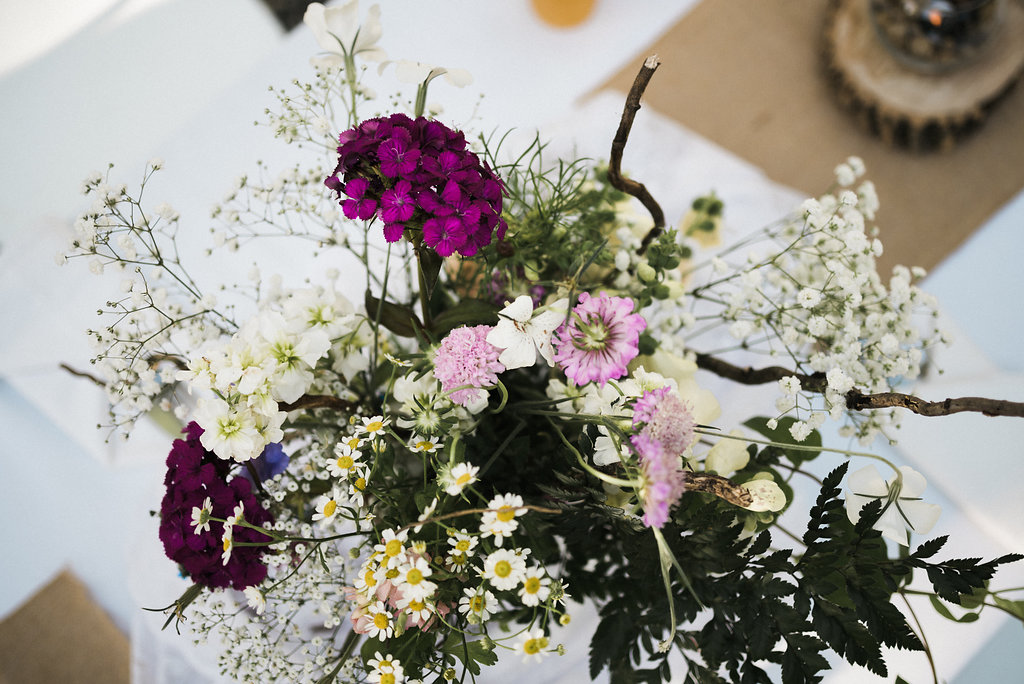 wild flowers at reception