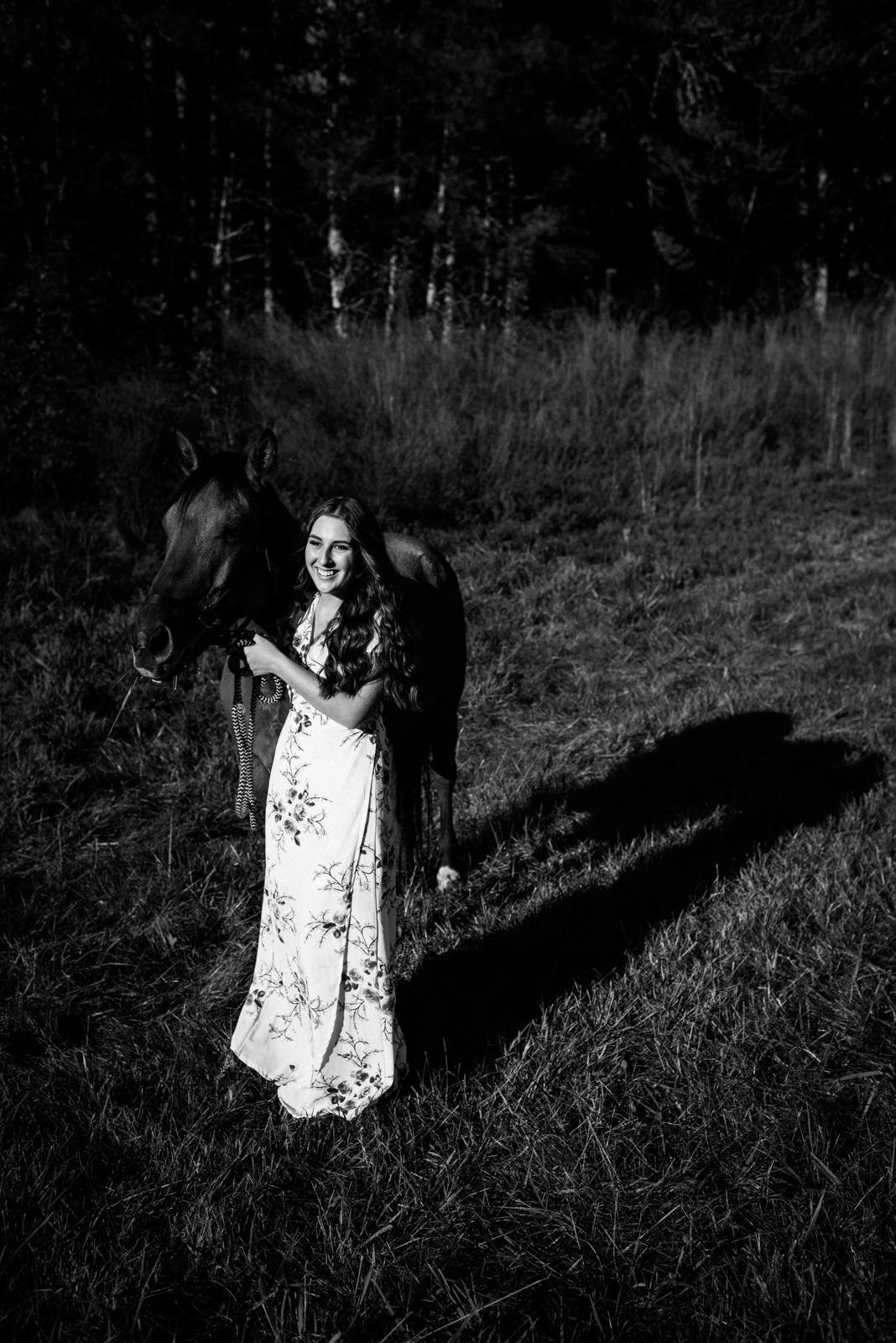 white dress in woods
