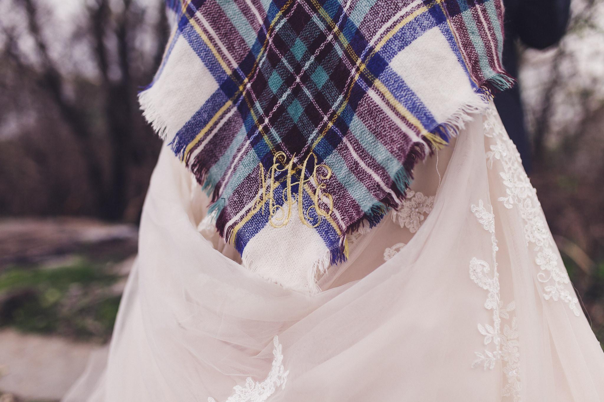 monogramed shawl