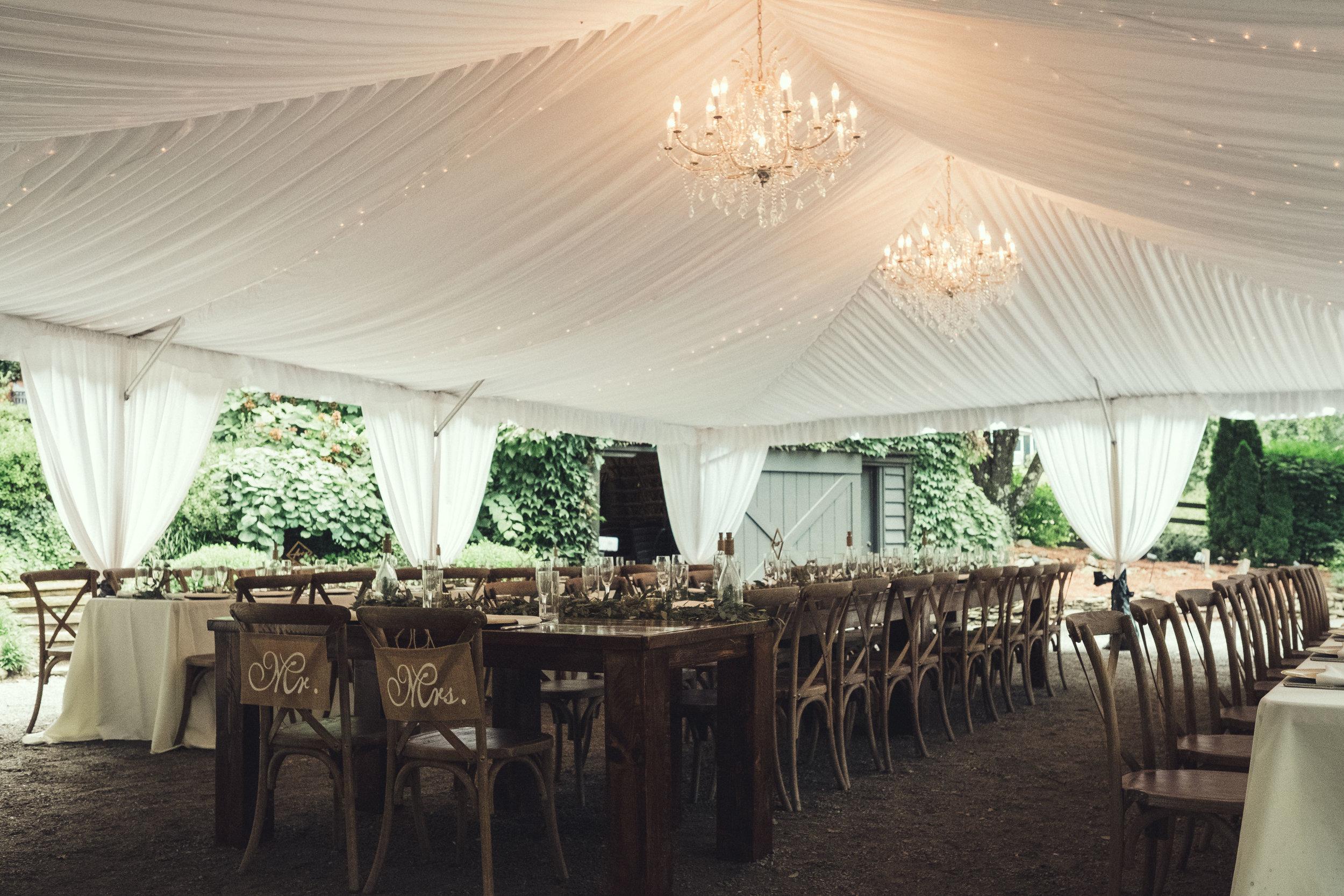 Hawkesdene reception tent interior