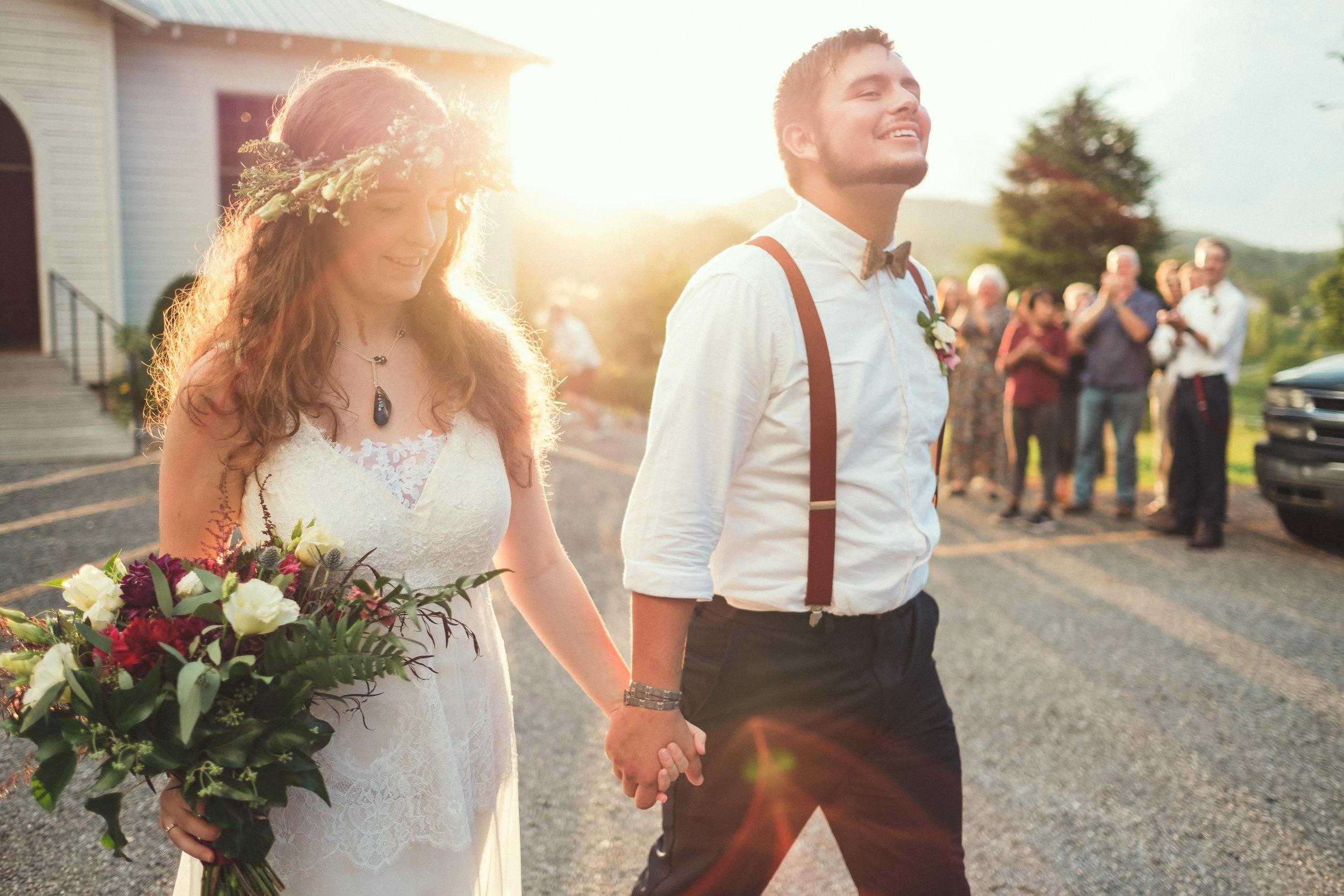 Beautiful wedding sunset walk