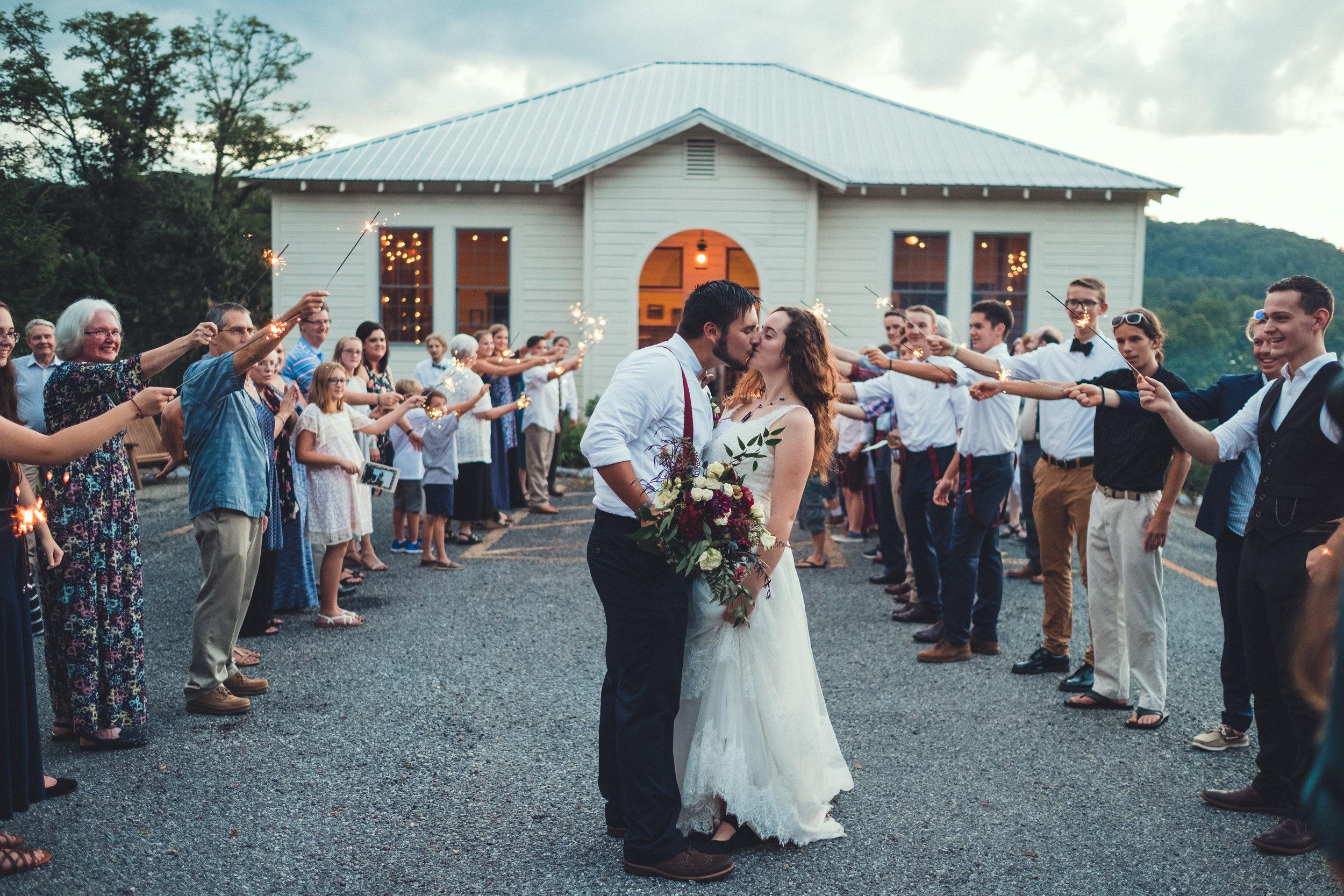 Final shot of school house wedding