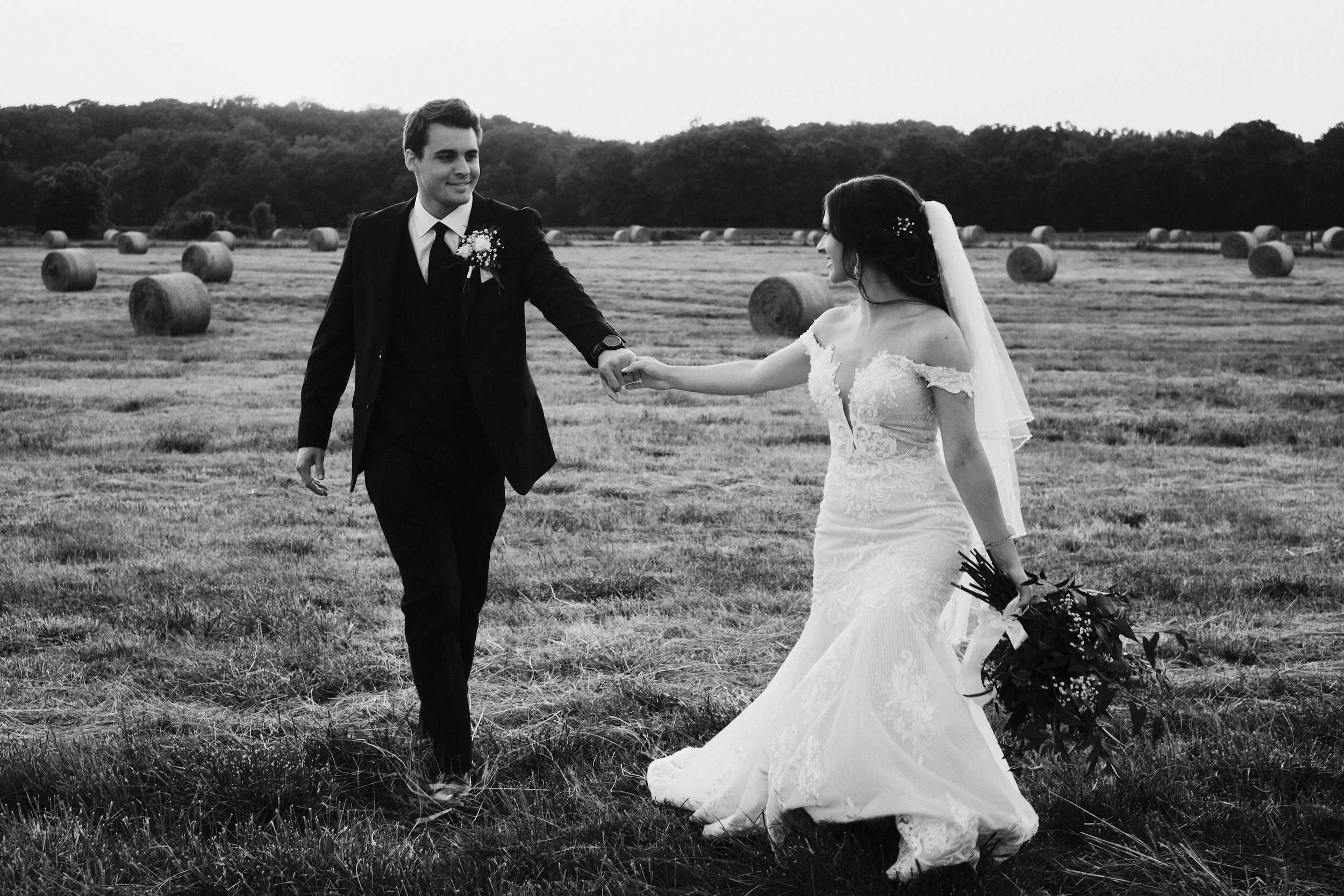Candid portrait walking through field