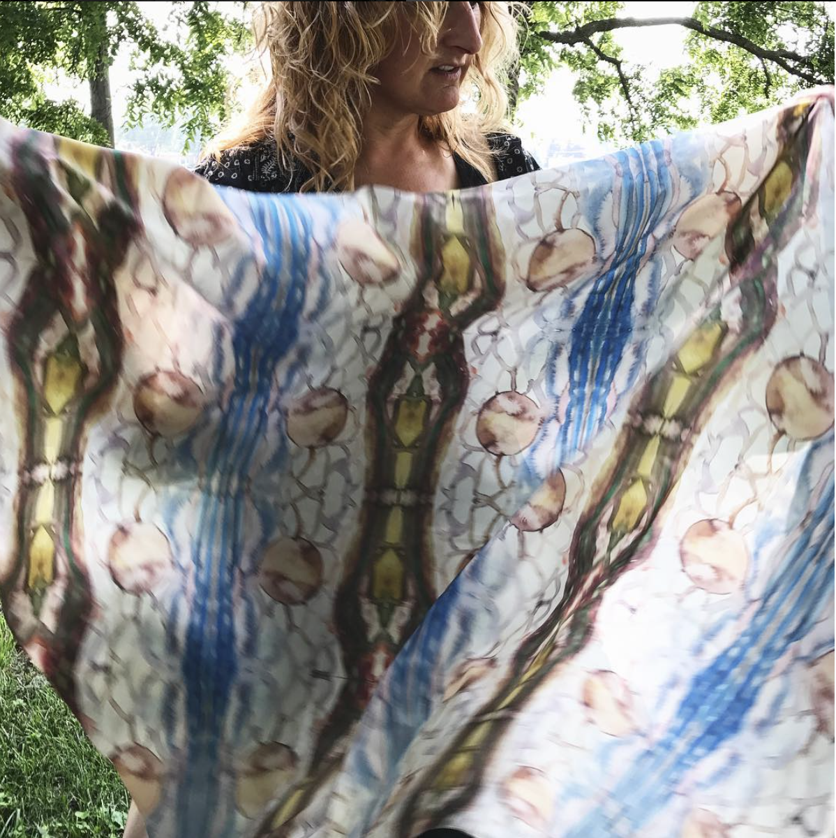 Skylab 2017, LAVillita Residency, New Mexico - I spent the summer of 2017 at La Villita Ranch and Mergirl Farm in the Rio Grande Valley, exploring and translating ideas about relationships in the open New Mexico landscapes into repeat images on organic crepe silk. Because silk is touchable,moveable,and wearable, the Skylab Series allowed me to play with ideas about ownership and stewardship.Those works led me to new ideas and explorations of how mountains may feel and what air looks like and how breaking down my paintings about the land and sky into more ethereal images and patterns and finally producing something to adorn the body, enticing and soft enough to bring a sense of comfort, might begin a shift in perspective about the earth and a dialogue about our relationship to it.