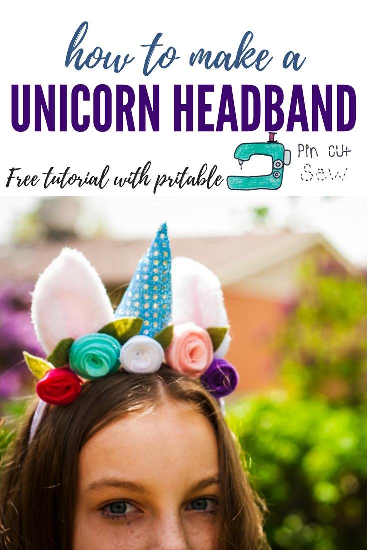 Unicorn Headband tutorial by Pin, Cut, Sew Studio