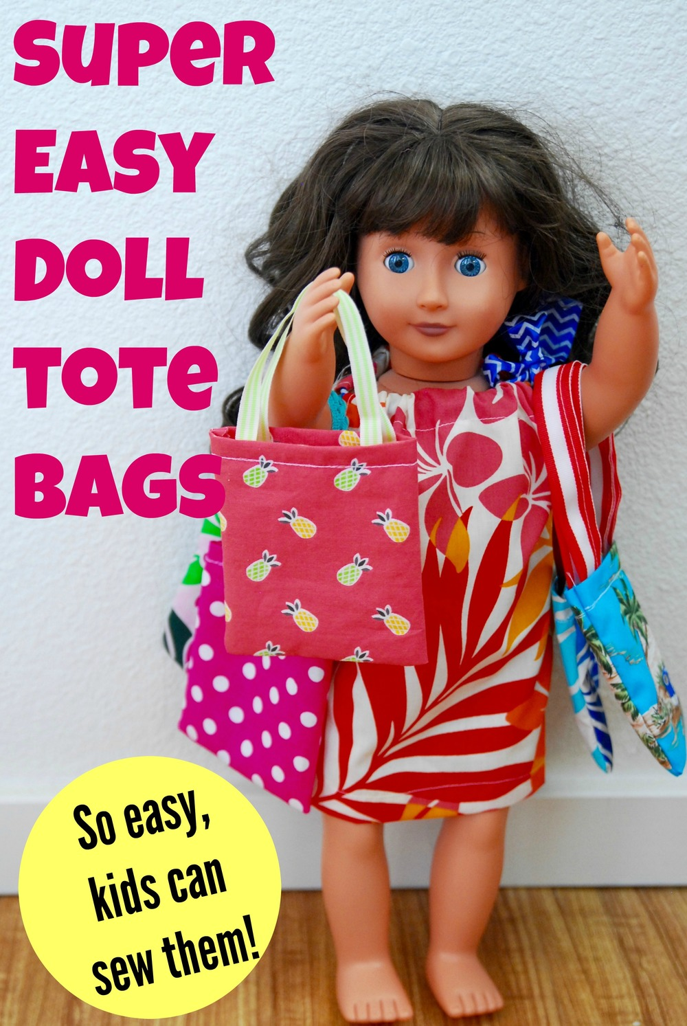 Doll Tote Bag Tutorial - How to make tote bags for dolls.