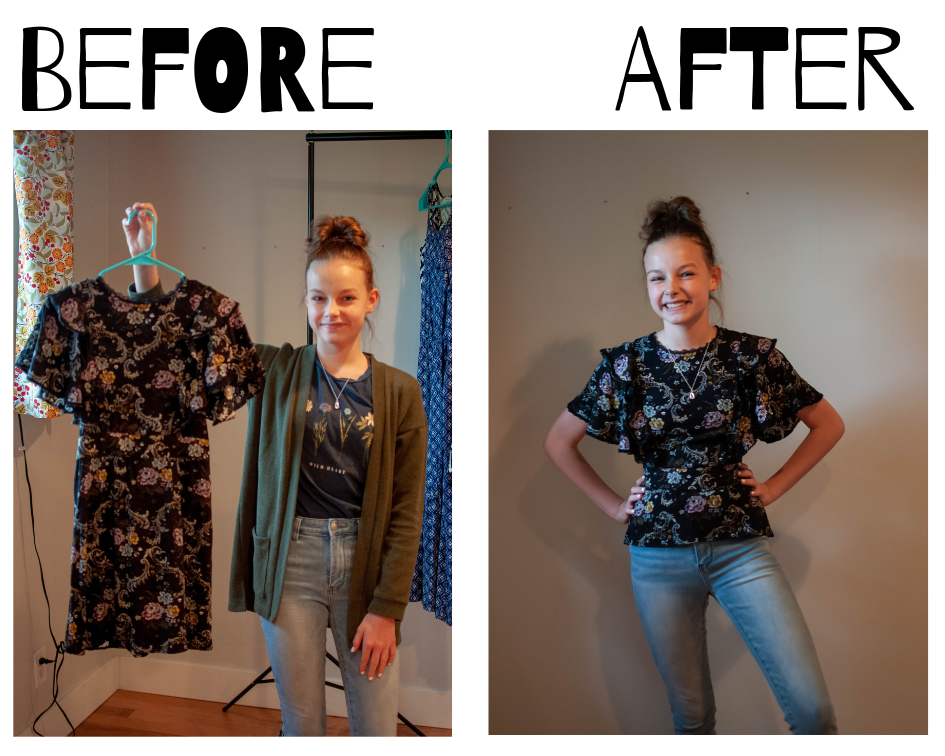 Turn a too-short dress into a top!