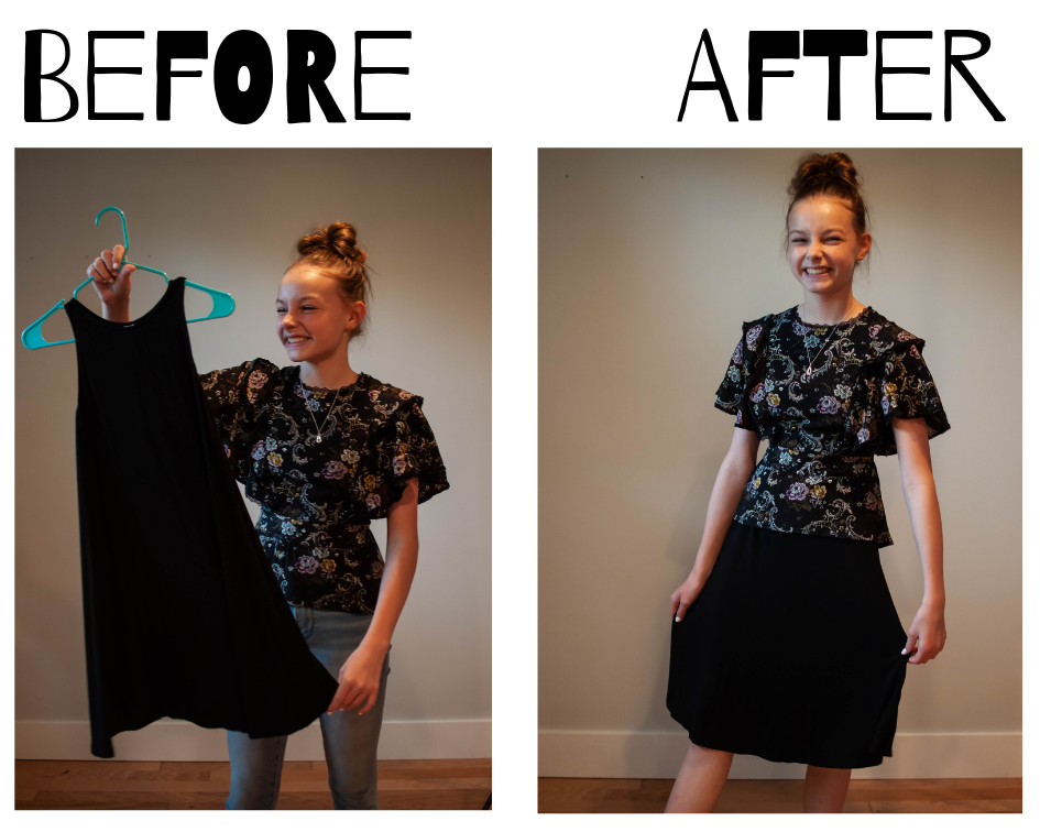 Turn a too-short dress into a skirt!