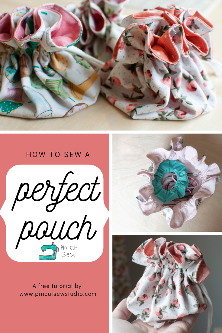 How to sew a drawstring pouch, by Nikki Schreiner of PIn, Cut, Sew Studio.