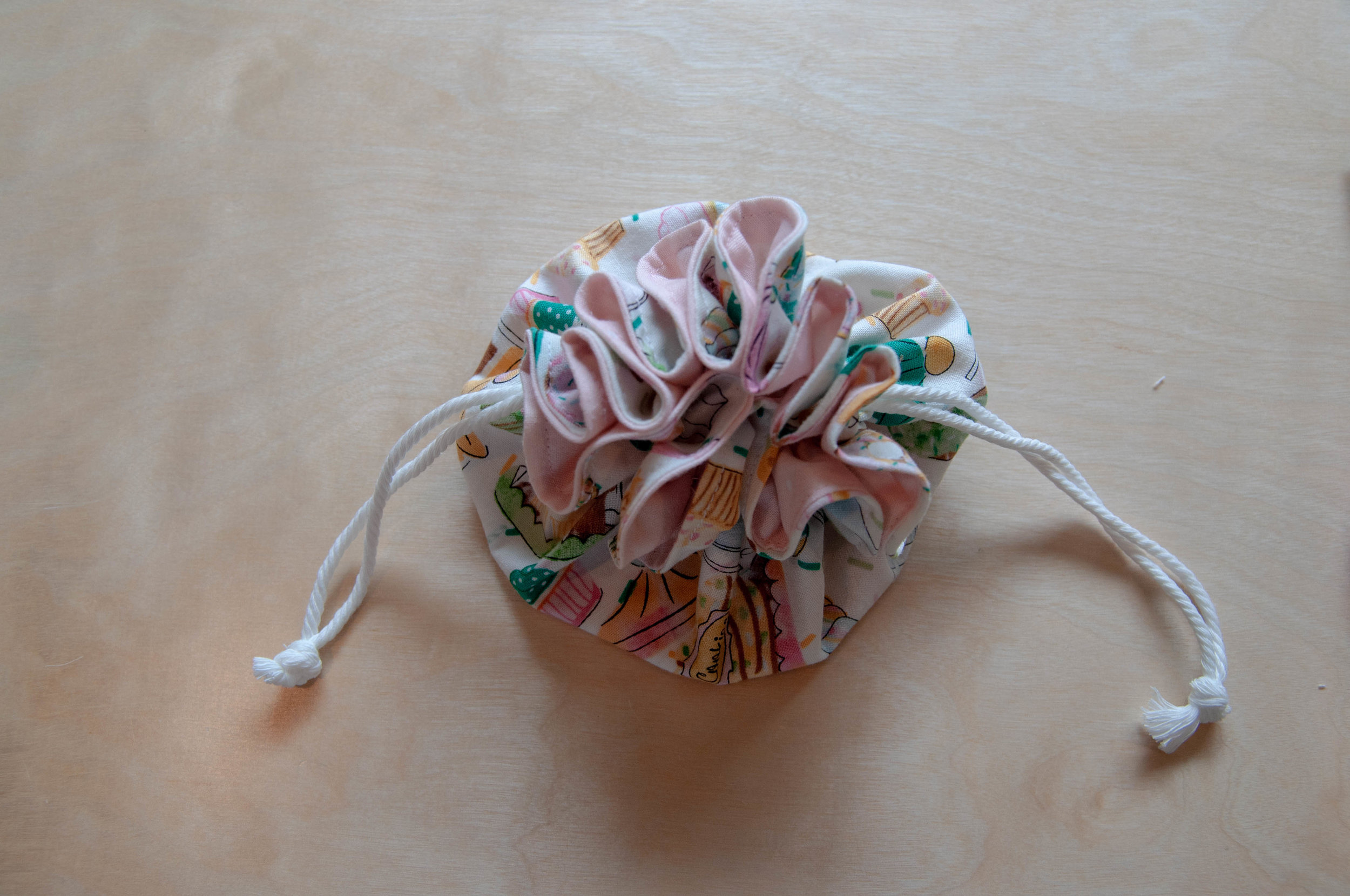 How to make a drawstring pouch, a sewing tutorial by Nikki at Pin, Cut, Sew Studio