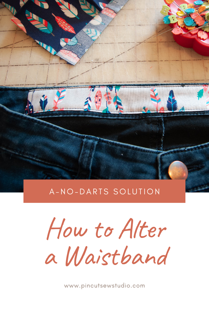 How to fix a too-big waistband on your kids' jeans, with no darts. || Pin, Cut, Sew Studio