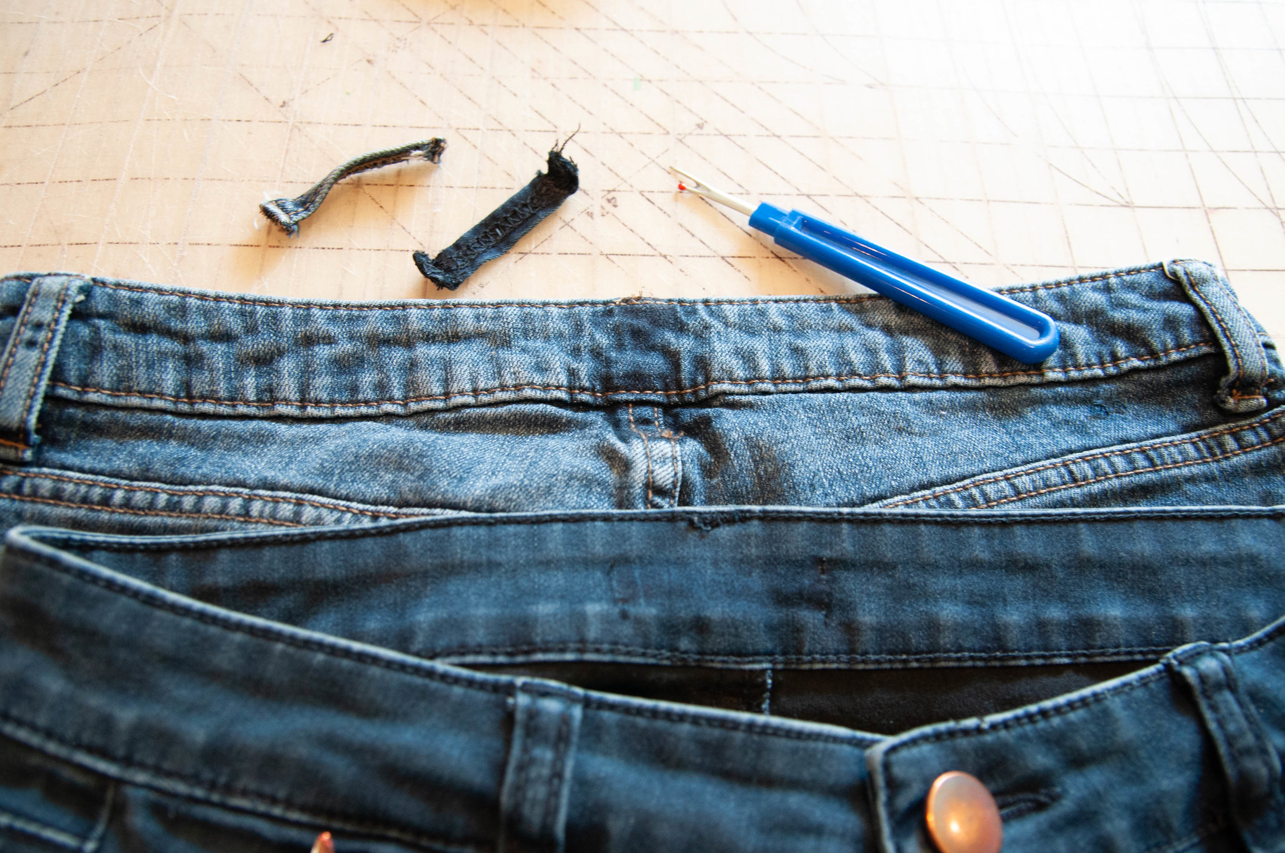 How to make a jeans waistband smaller. || Pin, Cut, Sew Studio