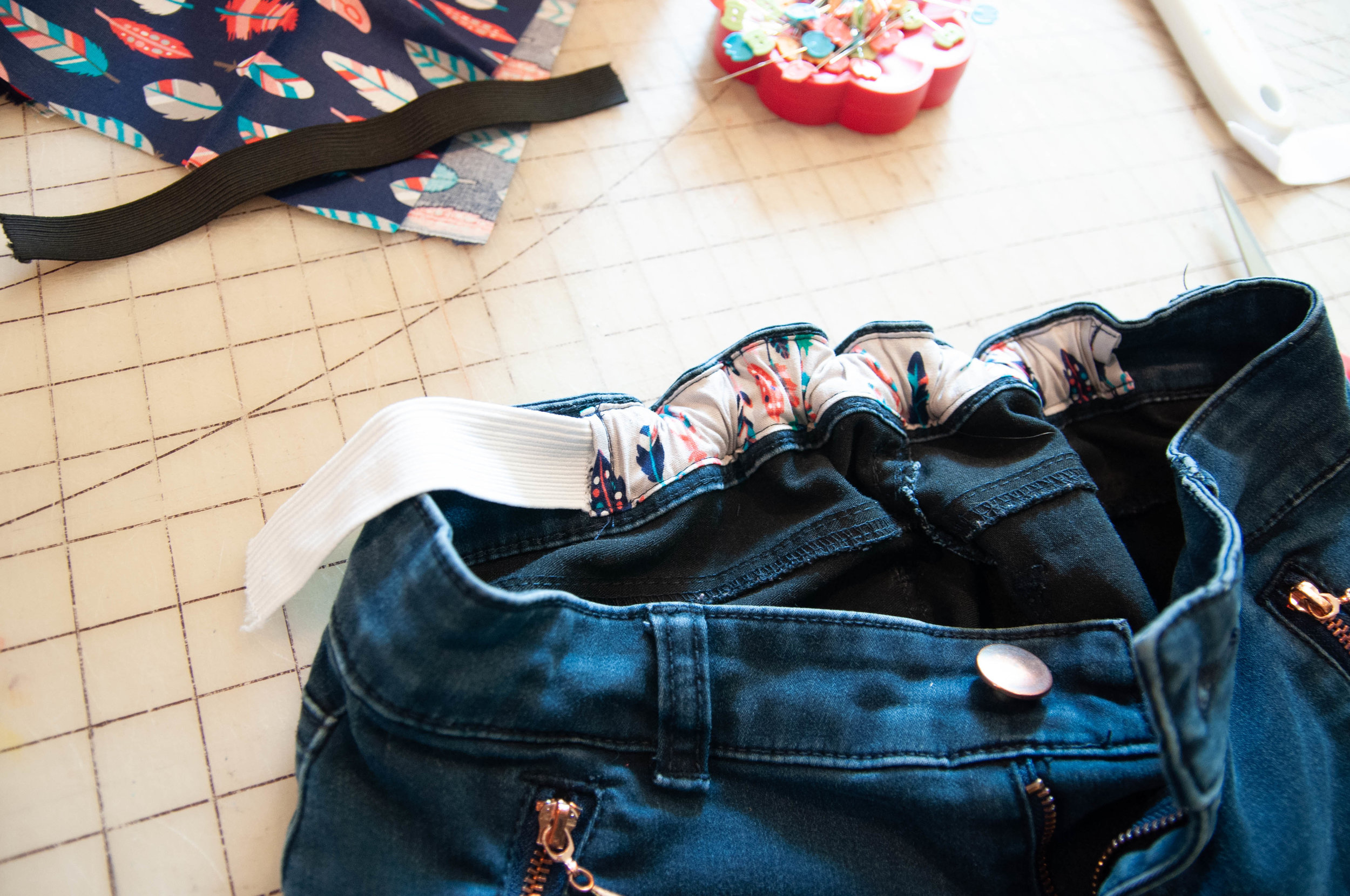How to add elastic to kids jeans.