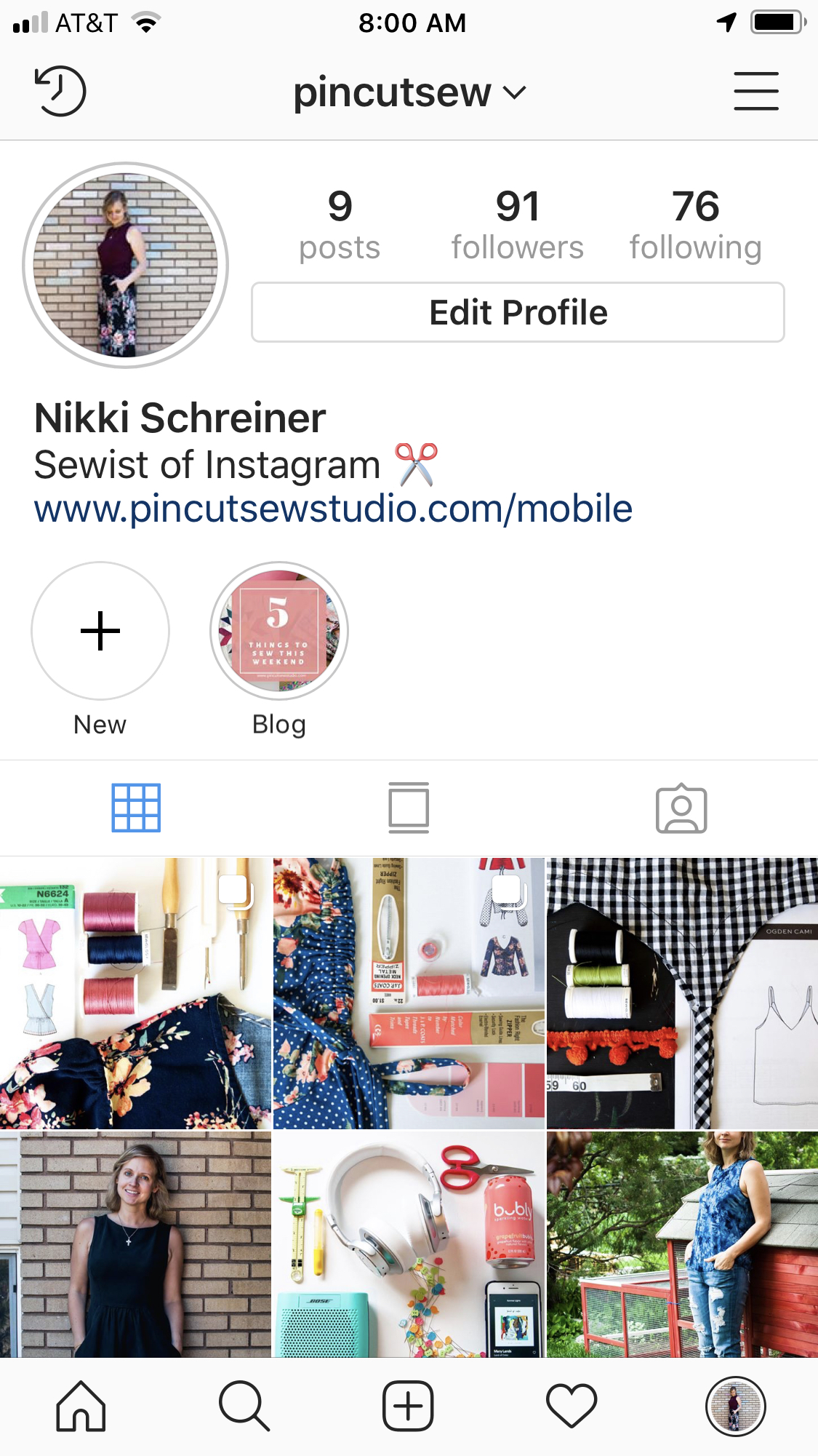Nikki Schreiner of Pin, Cut, Sew Studio on Instagram