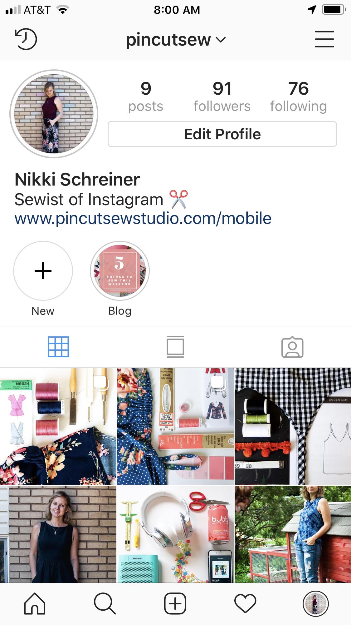 Nikki Schreiner of Pin, Cut, Sew Studio on Instagram