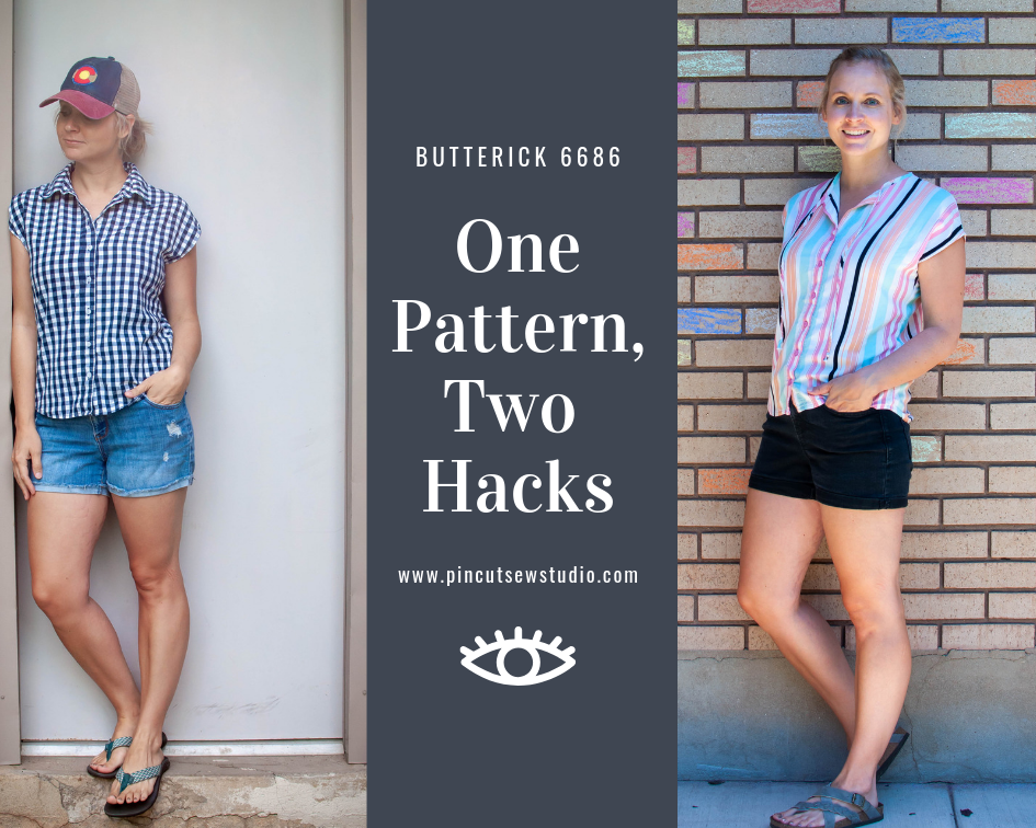 Pattern hacking with Butterick 6686. Click over to see how I made two very different tops out of two very different fabrics, with one simple pattern. || PIn, Cut, Sew Studio