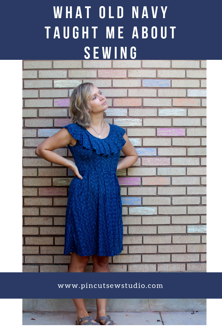 I made a mash up a Burda top pattern and an Old Navy dress and learned some new techniques along the way! Come see how inspecting your rtw clothes can improve your sewing skills. || Pin, Cut, Sew Studio