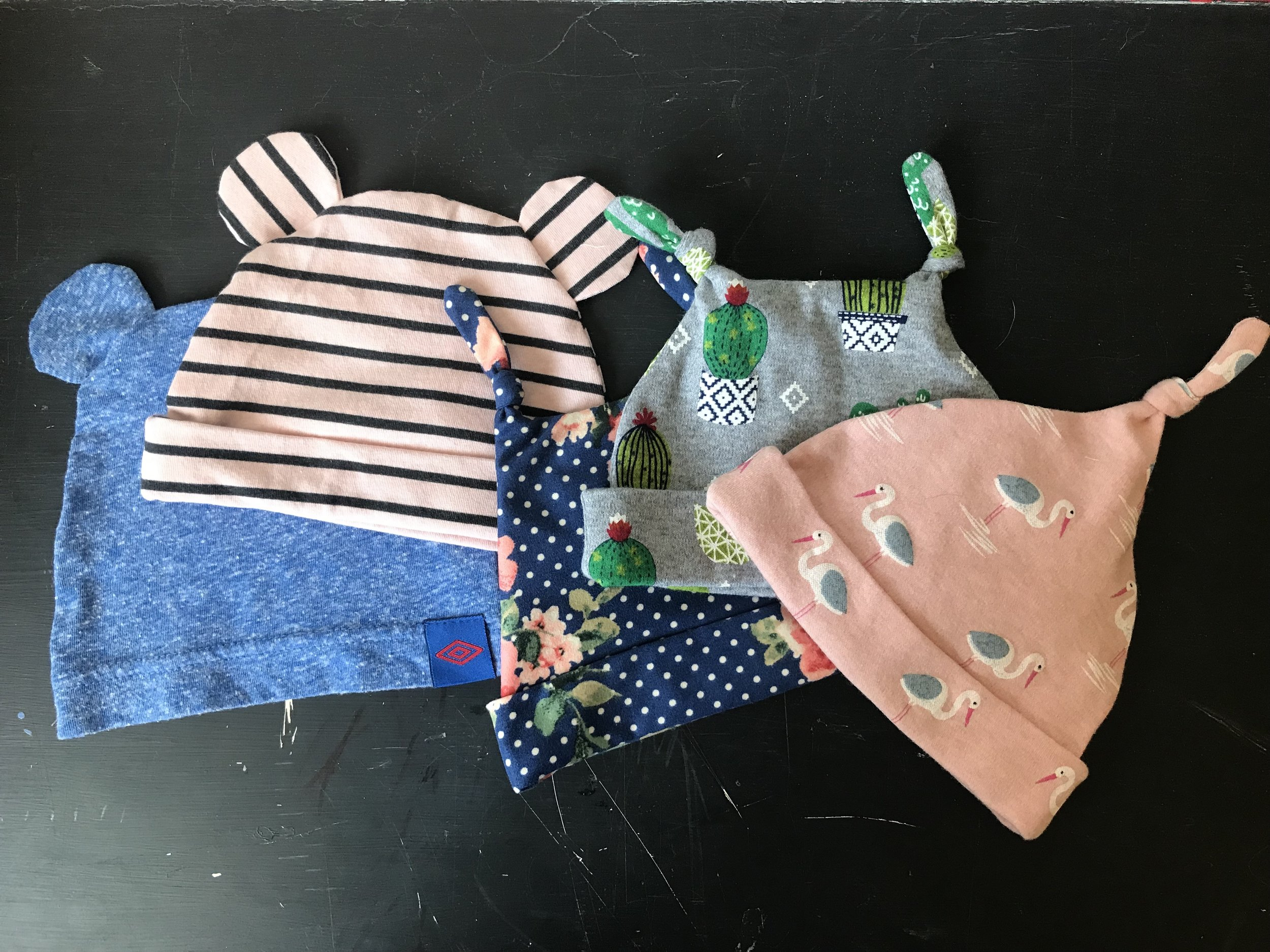 How to sew baby hats out of fabrics scraps or t-shirts. || Pin, Cut, Sew Studio