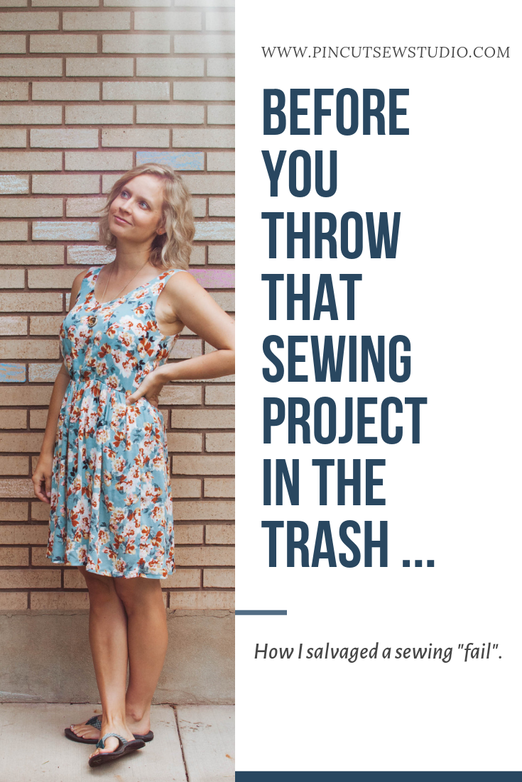 I came so close to throwing this dress in the trash before I ever finished it! Come read how I salvaged it and what I learned.    Pin, Cut, Sew Studio