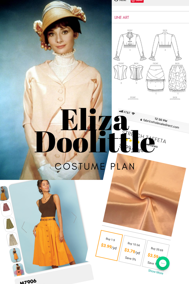 Audrey Hepburn as Eliza Doolittle costume plans and inspiration. | PIn, Cut, Sew STudio.com