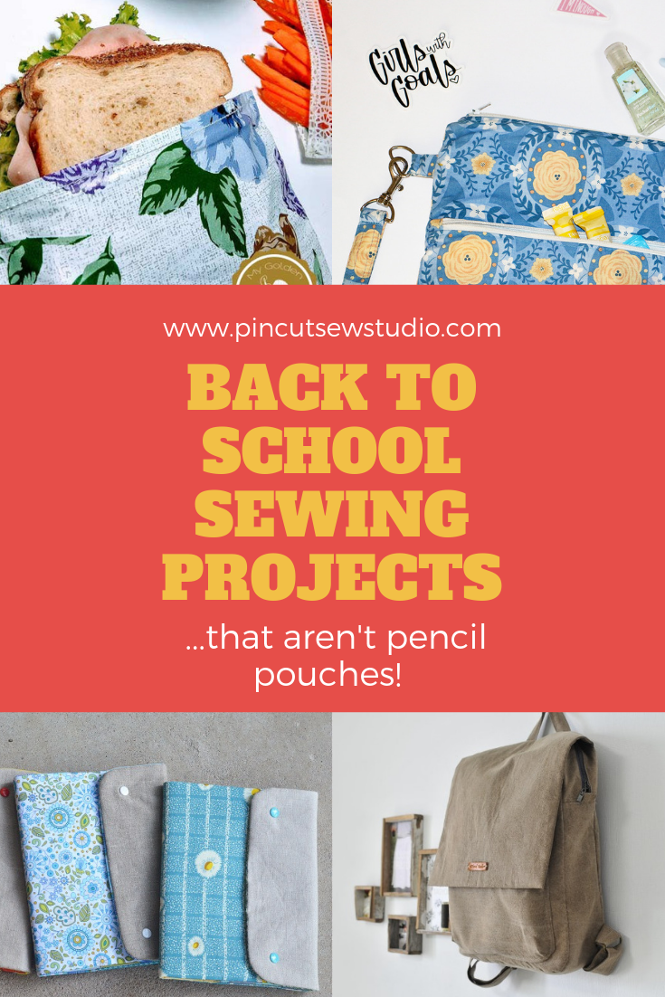 "I always think it's fun to sew up a little something for my kids when we get started with school for the year. When I look up ""back-to-school sewing"", though, most of the ideas are pencil pouches. Pencil pouches are great, but I thought I'd round up the back-to-school sewing ideas that go beyond the zipper pouch. Enjoy! 