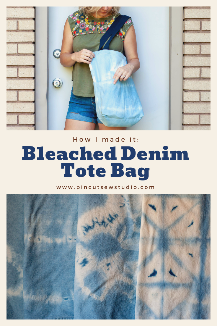 I tie-dyed denim with bleach and used it to make a Costa Tote bag! Come see the details :) || Pin Cut Sew Studio