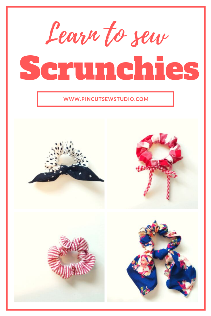 Sew up some scrunchies this weekend! Grab some friends and learn to sew some 90's fashion :) || PIn Cut Sew Studio #sewing #scrunchies #beginnersewing #teensewing