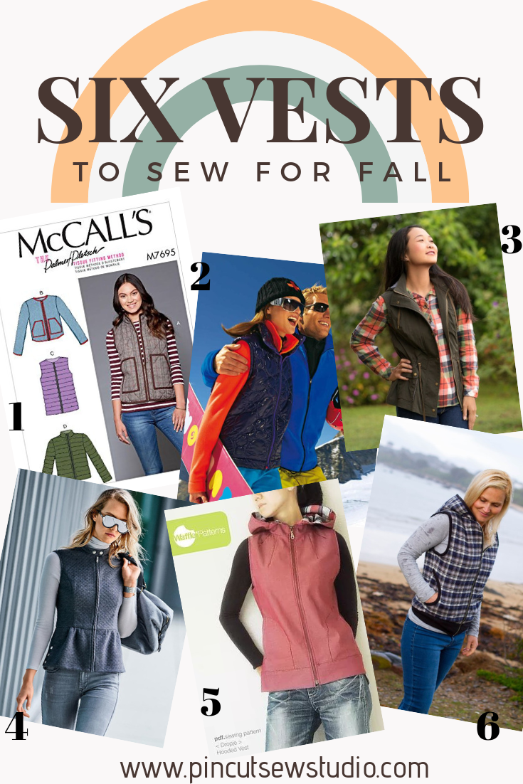 I've found my six favorite Fall vest sewing patterns and put them in one handy place! come see the six vests you should sew for Fall and get fabric suggestions to go with them! || PIn Cut Sew Studio #fallsewing #vestpatterns #outerwear #diyfashion