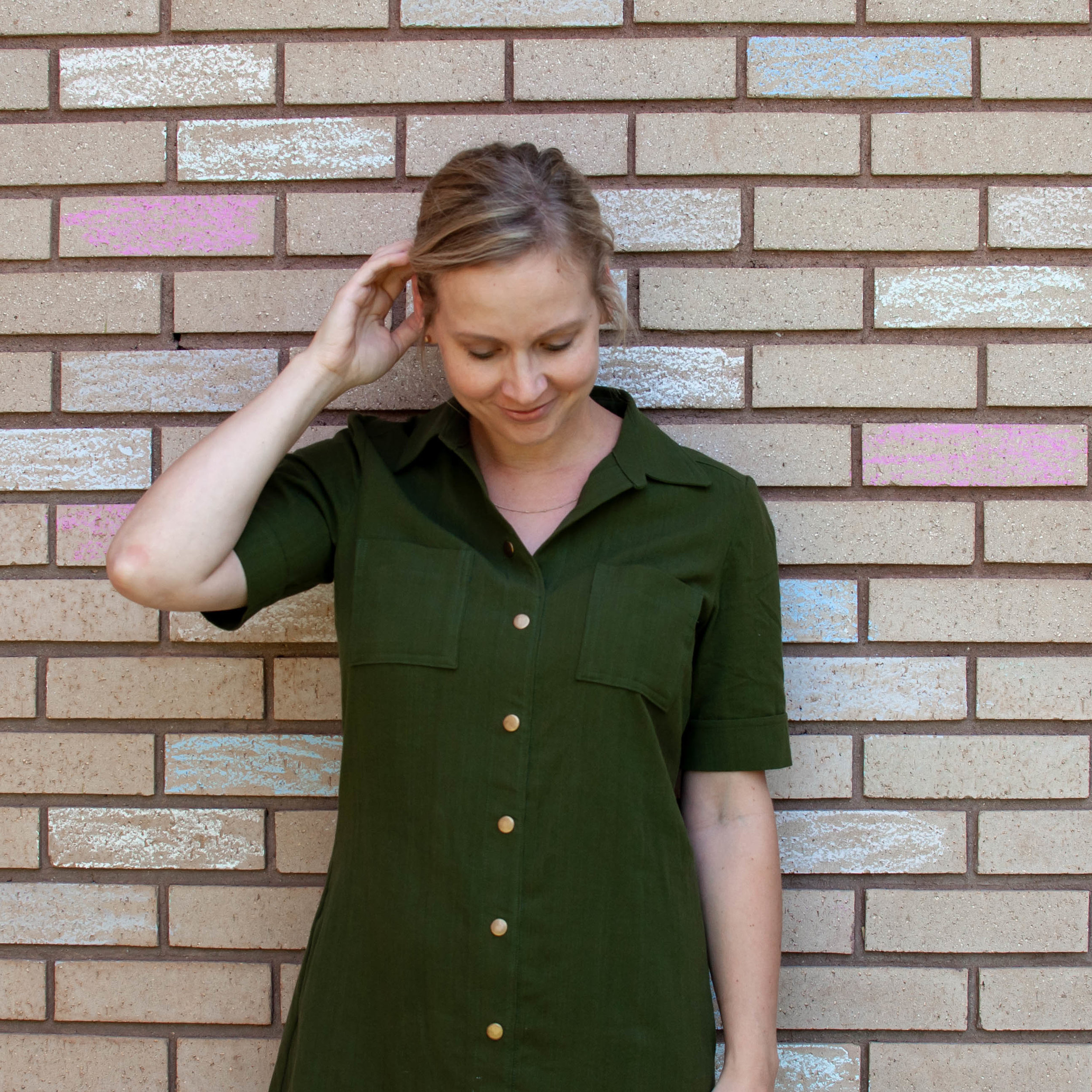 Green shirt dress, Simplicity 8104 || Pin Cut Sew Studio #diyfashion #shirtdress #simplicitypatterns