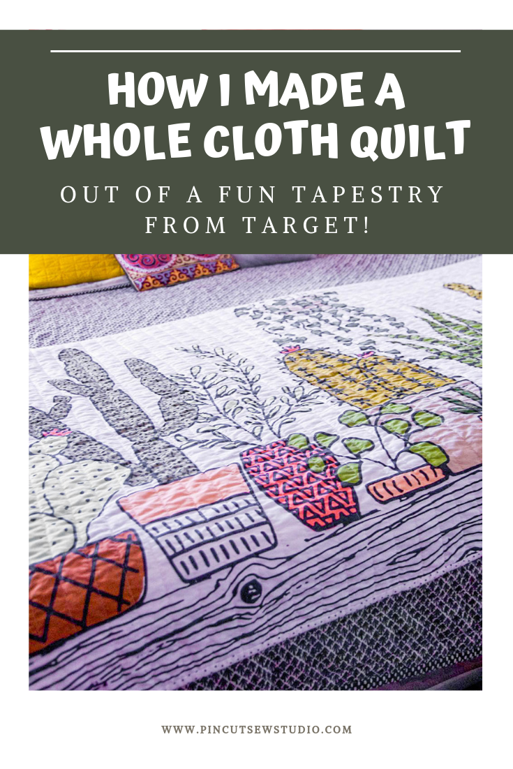 "Learn how to sew a whole cloth ""cheater"" quilt from a fun tapestry. 