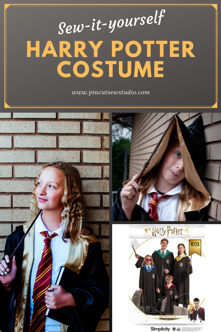 How I made a Harry Potter Gryffindor costume, complete with fabric and pattern sources, plus accessory ideas! || Pin, Cut Sew Studio #harrypotter #costume #cosplay #gryffindor #diyharrypotter #hermionecostume