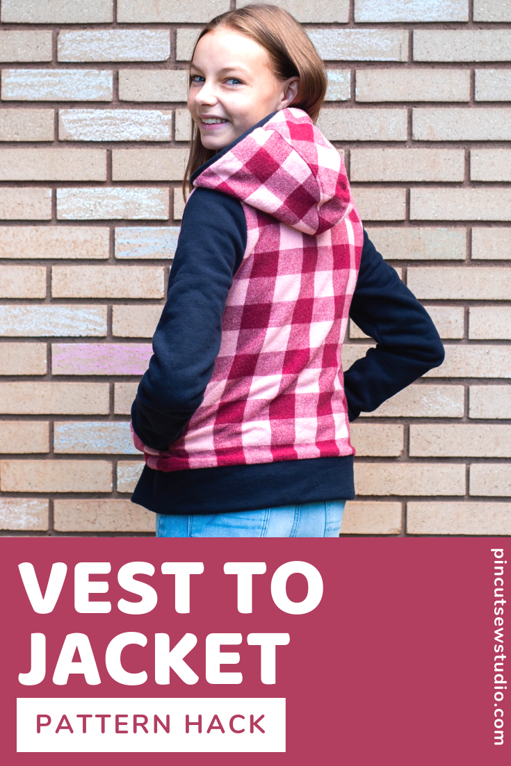How I used to Hero Vest pattern to make a jacket by adding sleeves (and all with thrifted fabrics!) || PIn Cut Sew Studio #diyfashion #teensewing #jacketpattern #sewing