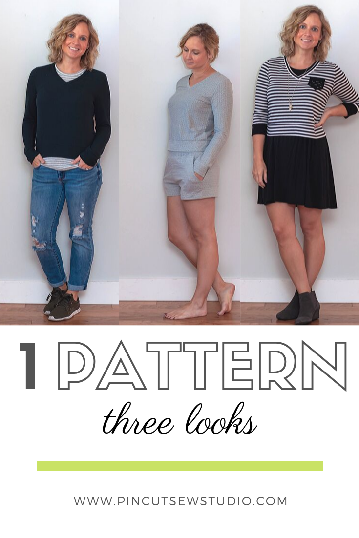 I made New Look 6644 three different times! Each look is so different and I know I'll be using this basic knit top pattern a lot in the future. || PIn Cut Sew Studio #newlookpatterns #sewingpattern #diyfashion #sewingclothes