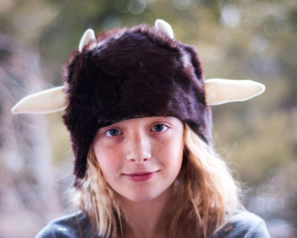 How to use Simplicity 8273 to DIY any animal hat. I've made SO MANY animal hats, including Mr. Tumnus from Narnia shown here, with this pattern. || PIn Cut Sew Studio #diycostumes #sewing #costume #animalhat