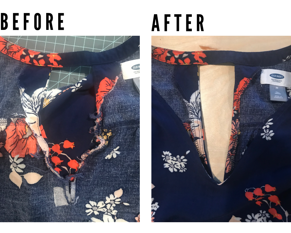 Sewing comes in handy for thrift shopping! I mended this hacked off facing and now I have a new rayon dress :) || PIn Cut Sew Studio #thrifting #diyfashion