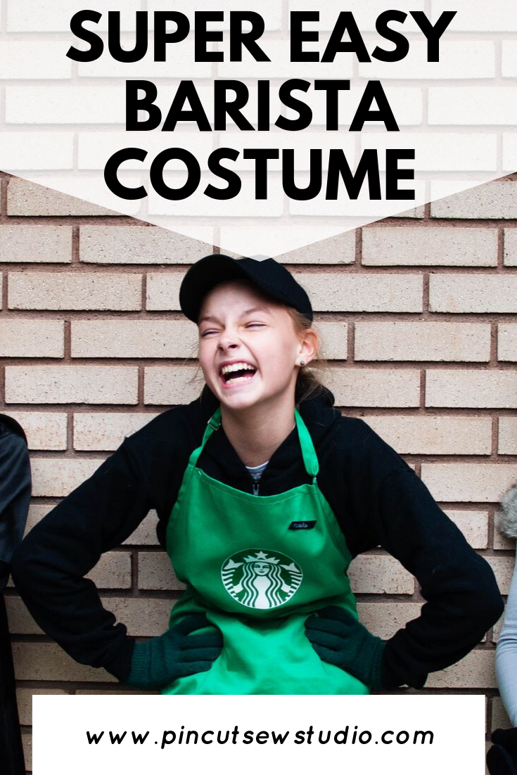 How to make a DIY Starbucks barista costume! All the details and resources you'll need. || PIn Cut Sew Studio #starbucks #costume #halloween #diy #easycostume