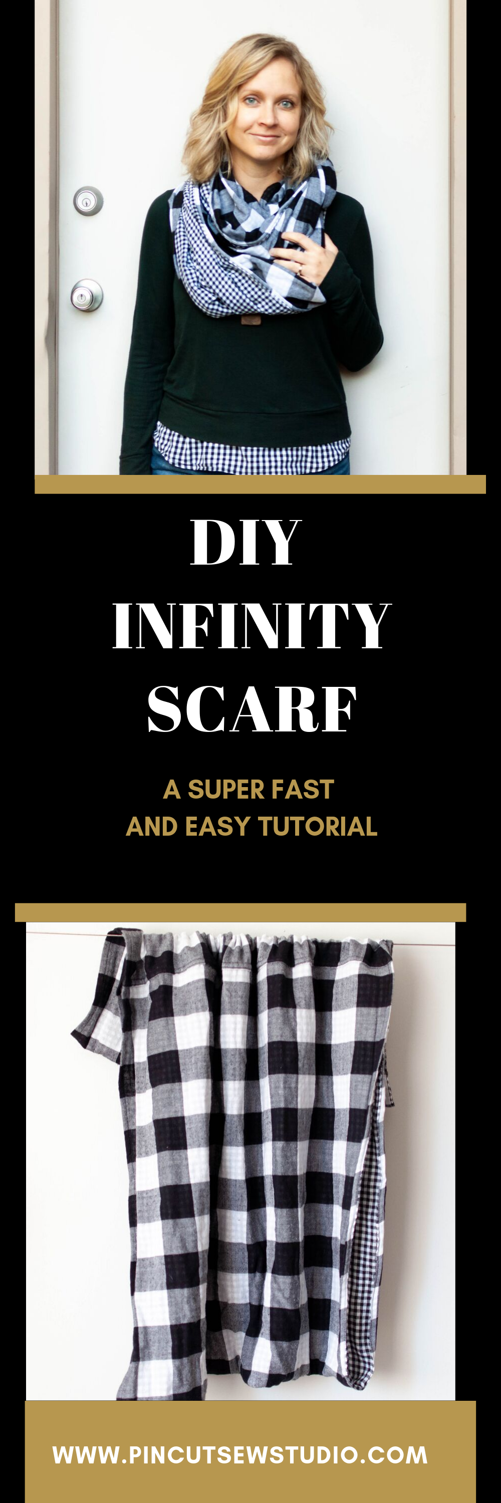 How to sew a DIY circle infinity scraft with just two yards of fabric and a few easy seams! || PIn Cut Sew Studio #howtomake #circlescarf #diyscarf #infinityscarf