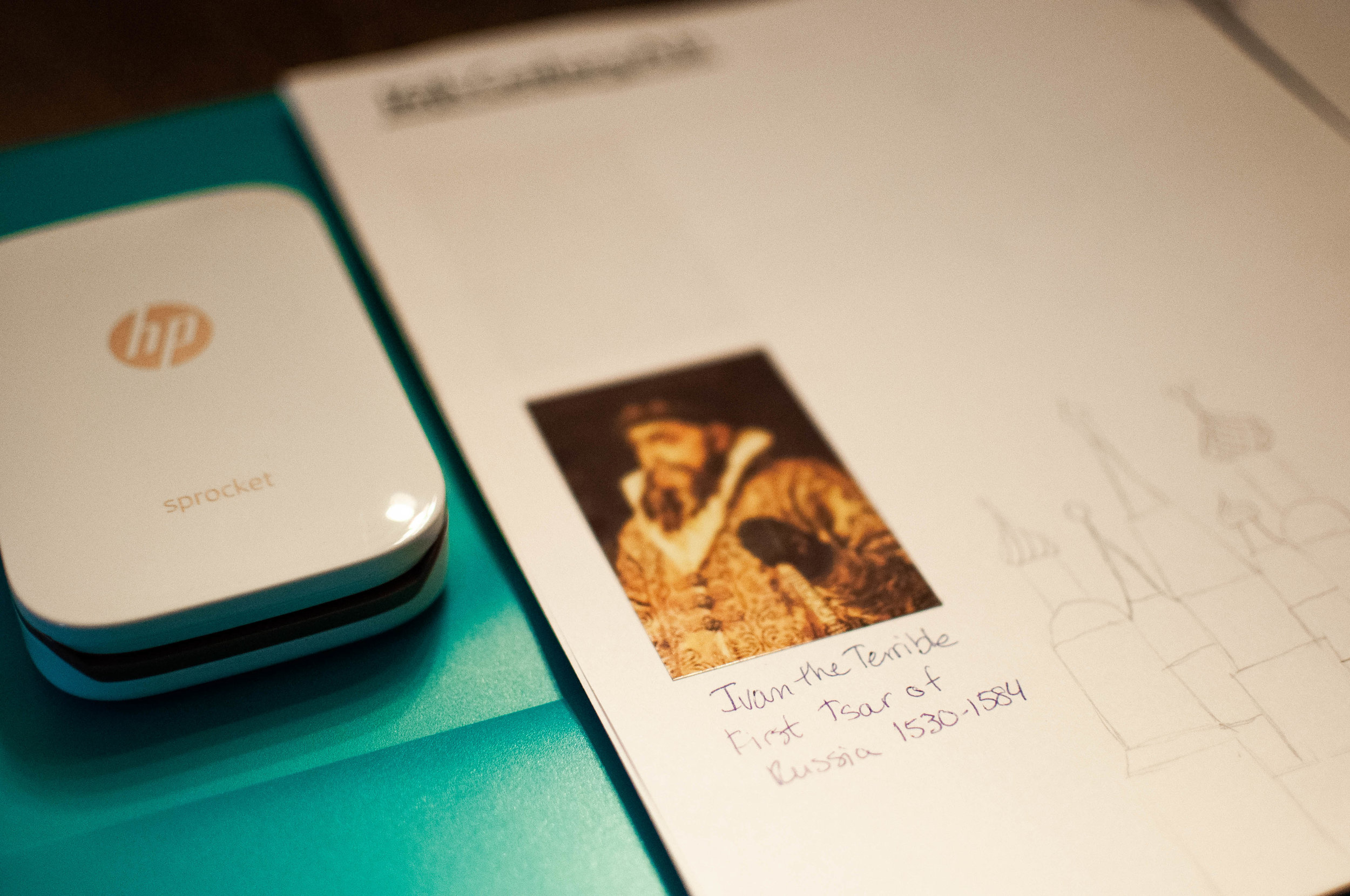 HP Sprocket for homeschooling. We print little photos and stick them in our book of centuries!