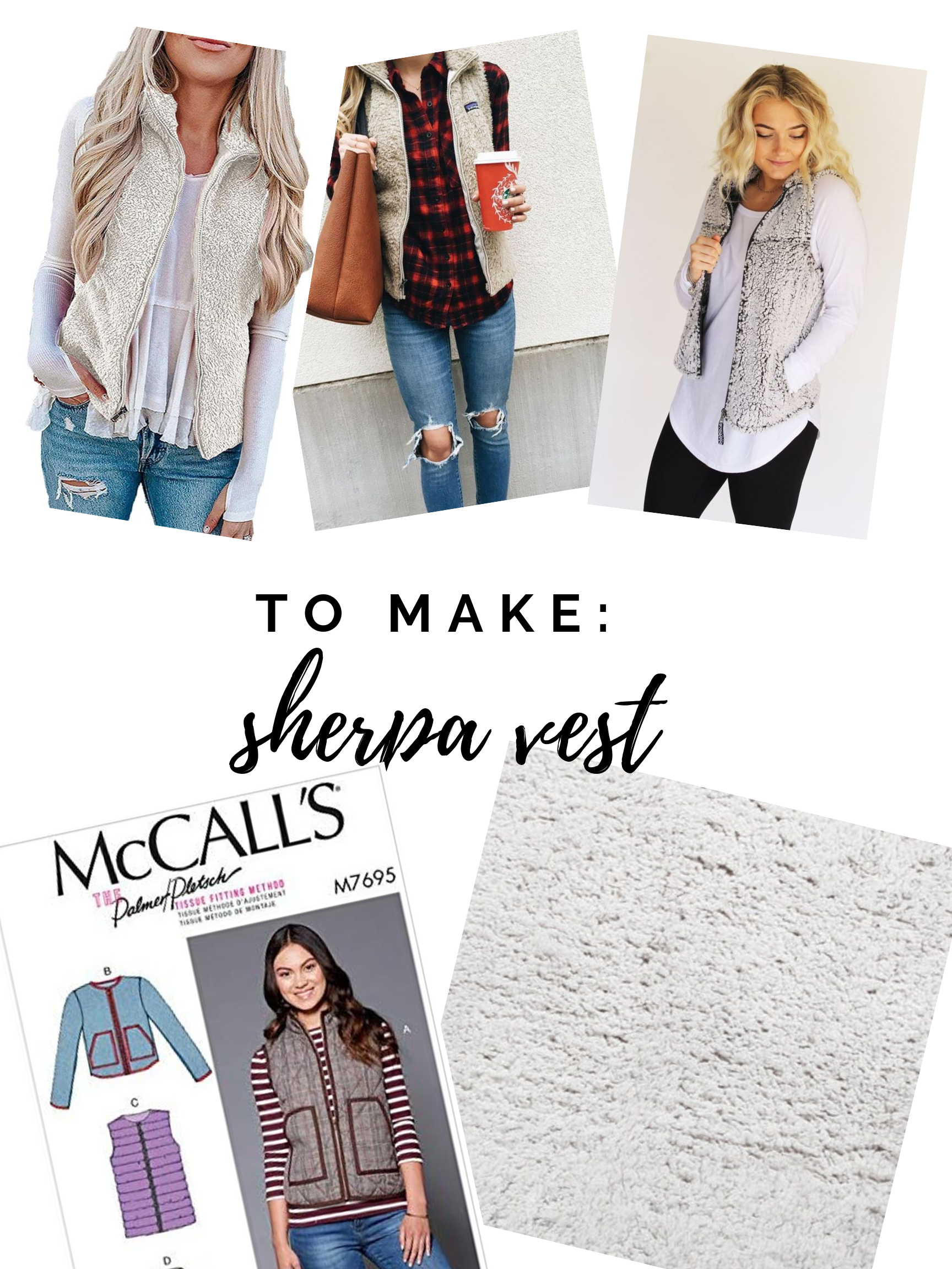 Fall sewing plans! I'd like to make a sherpa vest and Hobby Lobby has the perfect fabric right now. || Pin Cut Sew Studio #vest #diyfashion #fallsewing