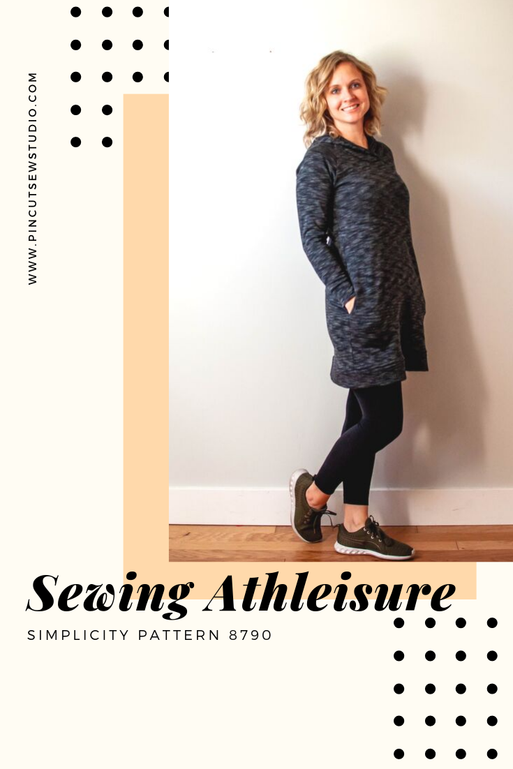 How I made an athleisure dress with Simplicity pattern # 8790. Click over for the details! || Pin Cut Sew Studio #athleisuresewing #sewadress #diyfashion