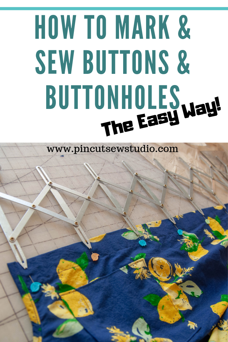 How I use an expandable gauge to mark buttonholes. || PIn Cut Sew STudio #howtosewbuttonholes #sewingtools #sewingtutorial