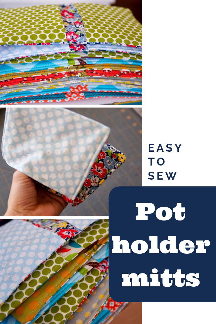 Learn to sew easy DIY pot holder mitts! No fussy binding or hand sewing, this is the perfect gift and a great sewing tutorial for beginners. || PIn Cut Sew Studio   #sewing #diy #howtosew #easysewing #tutorial