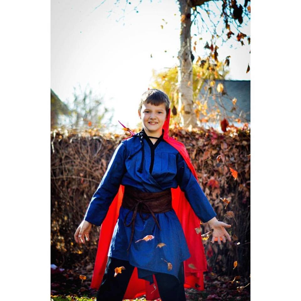 Doctor Strange Costume sewing pattern. DIY handmade costume sewing ideas, with patterns and how-tos. Come see (almost) all the costumes I've ever made for my kids, from the very beginning! || PIn Cut Sew Studio #costumes #Halloween #cosplay #sewingcostumes #easysewing #costumestomake #diycostumes